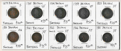 (1679-1881) Ten British Farthings Catalog Value $865 >> Exclnt Lot >> No Reserve