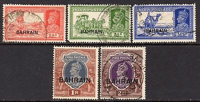 Bahrain KGVI  1938-41 Selection of 5 Used stamps to 2r