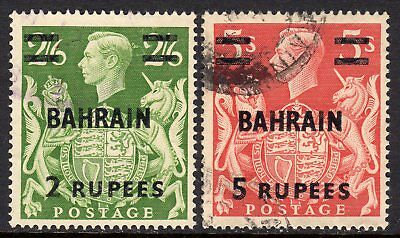Bahrain KGVI  1948-49  Surch 2r on 2s6d & 5r on 5s SG59-60 Used