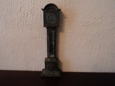 Vntage Cast Metal Grandfather Clock Desk Top Display - Unusual Item.