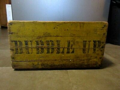 Very Rare Vintage Bubble Up Wood Soda Pop Crate CASE YELLOW PAINT STENCIL