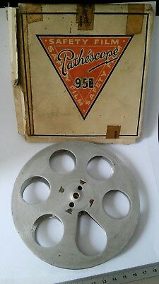 Vintage Pathescope Band  9.5mm Safety Film Empty  Metal Reel