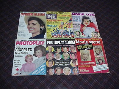 lot of 6 vintage movie magazines dated 1963.  All are complete.