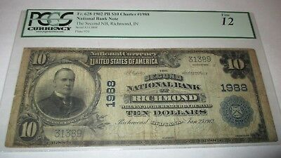$10 1902 Richmond Indiana IN National Currency Bank Note Bill #1988 PCGS FINE!