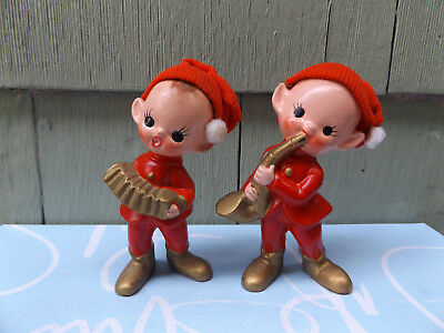 Vintage Christmas Elf Figurines Playing Instruments Japan