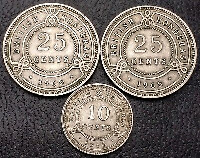 Lot of 3x British Honduras 10 and 25 Cents Coins - Great Condition
