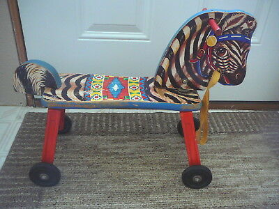 GONG BELL MFG - Vintage 1950s  RIDING TOY ZEBRA WOOD STEEL & LITHOGRAPHED PAPER