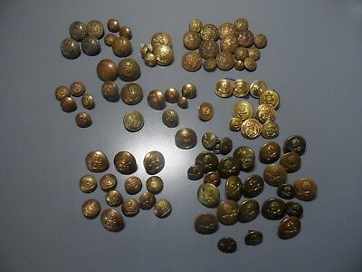Job Lot Collection Mixture Of Vintage Brass Military Buttons