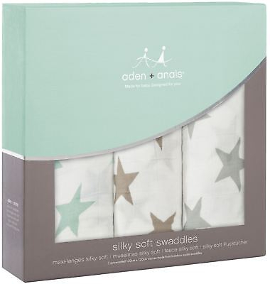 aden + anais SILKY SOFT SWADDLES 3 PACK MILKY WAY Baby Bedding Blankets BN