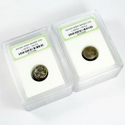 TEN SLABBED ANCIENT Greek Coins  Circa 400 BC - 300 AD - Free Shipping!