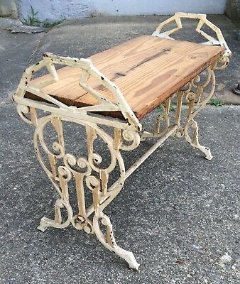 Antique Victorian Cast Iron Fireside Bench Art Nouveau Vanity Piano Stool Seat