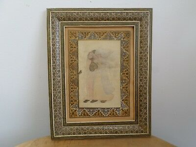 Vintage Middle Eastern,Persian Inlaid Mosaic Picture Frame with Ghostly Painting