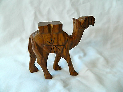 "Egyptian Small Wooden Camel Hand Carved Animal Figurine 3.5"" X 3.5"""
