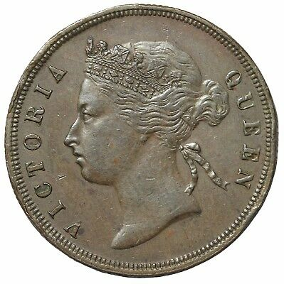 1887 British Straits Settlements Copper One Cent Queen Victoria Penny KM#16