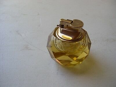 Diamond Pattern Rare Gold Color Crystal Glass Lighter - Made In Japan