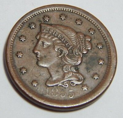 1855 Copper Braided Hair US Large Cent Coin - Upright 5 Variety