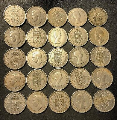 Vintage Great Britain Coin Lot - 25 SHILLINGS - Excellent Coins - Lot #711