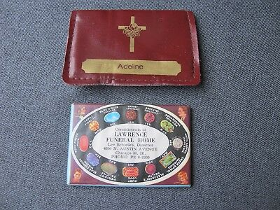 Vintage birthstone color chart funeral home adv purse's mirror in vinyl case