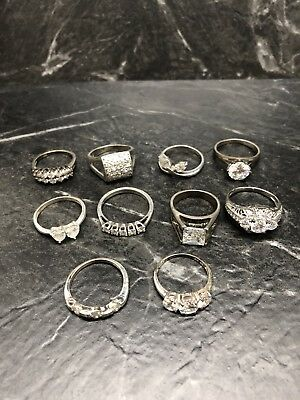 Sterling Silver .925 Lot of 10 Rings with Cz's 38 grams Flea Market