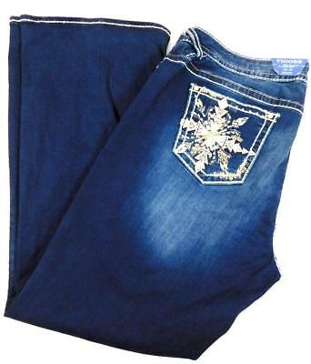 Vigoss the chelsea blue embroidered embellished boot cut spandex denim jeans 14