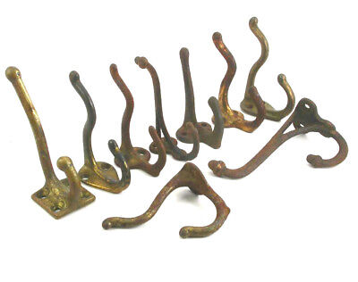 Lot of 9 Vintage Antique COAT HAT HOOKS- Cast Iron, Steel, Brass- Hall Tree Hook