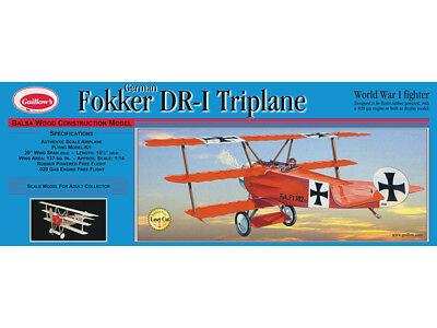 Fokker DR1 Triplane Guillow's flying balsa wood model kit#204