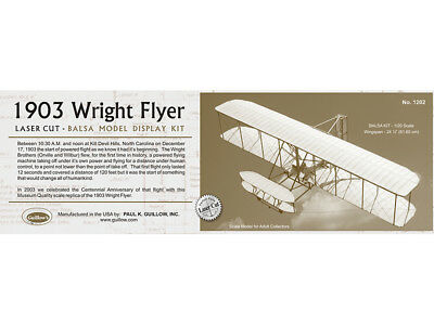 1903 WRIGHT FLYER Balsa build'n Show Guillow's Balsa wood model kit#1202