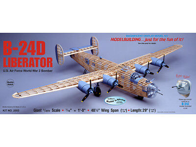B-24D LIBERATOR Giant Build 'n Show Guillow's Balsa wood model kit#2003