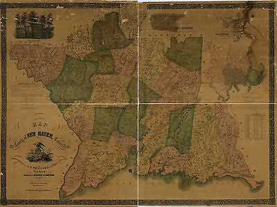 Poster Print Antique  USA Cities Towns States Map New Haven County Conneticut