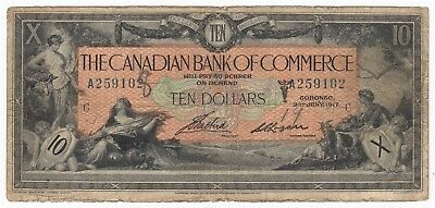 1917 Canada Canadian Bank of Commerce $10 Bank Note Bill