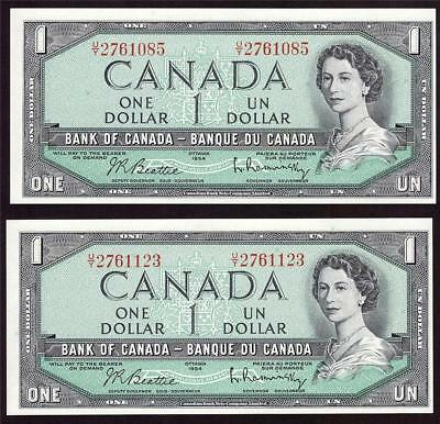 2x 1954 Bank of Canada $1 dollar bank notes BC-37b  both U/Y prefix CH UNC63