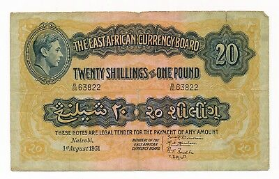 1951 East Africa 20 Shillings / Pound George VI Note P. 30 aFine RARE