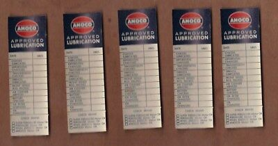 AMOCO APPROVED LUBRICATION - lot of five oil change service stickers  NOS