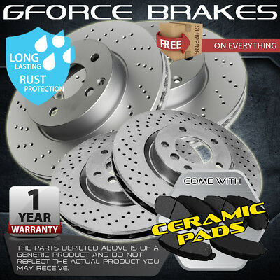 F+R Cross Drilled Rotors & Ceramic Pads for 2013-2015 Ford Explorer w/H/D Brakes