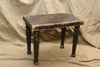 Primitive Antique Wood Stool or Dollhouse Table Quite Distressed Old Paint
