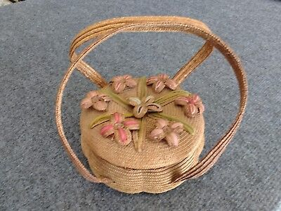 Vintage Antique Rye Straw Sewing Basket Applied Flowers Handles