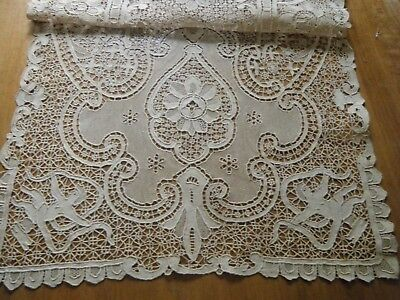 19c Antique Scarf Topper figural Combo Reticella Needle Tape Mezzo punto lace