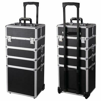 New Pro 4in1 Aluminum Rolling Makeup Jewelry Cosmetic Train Case 4 Wheeled Box