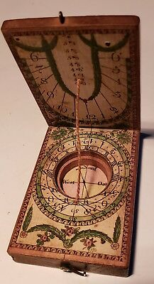 "Antique Pocket Sundial, German World Time CALCULATOR, 19th Century ""Chronograph"""