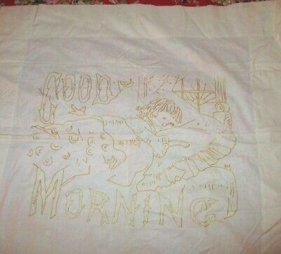 """Antique Hand Embroidered Yellow Gold Thread Pillow Cover Good Morning 27"""" Square"""