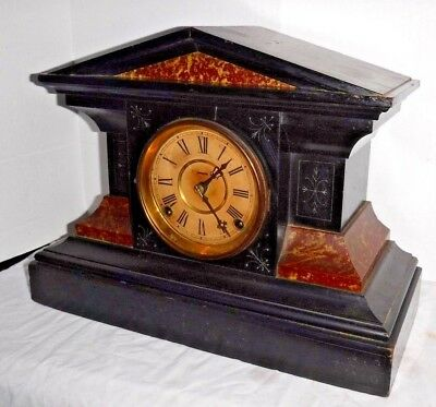 Antique Metropolitan New York Eclipse #737 Ebony Mantle Chime Clock 8Day Working