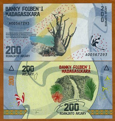 Madagascar, 200 Ariary, 2017 P-New UNC > Completely Redesigned, Waterfall
