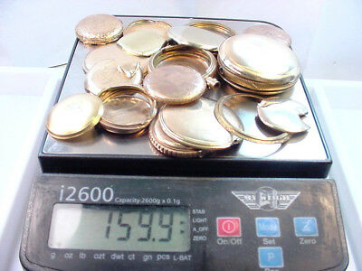 Quality Gold Filled Pocket Watch Case Scrap Lot For Gold Recovery 158.0 Grams