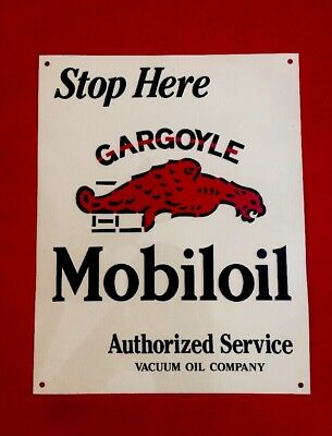 "STOP HERE GARGOYLE MOBILOIL Service Vacuum Oil Co Advertise Sign Tin 9.5"" x 7.5"""