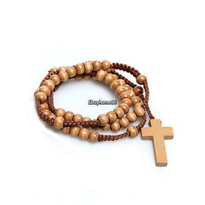 New Unisex Wooden Beads Rosary Necklaces with Pendant Cross EHE8 01