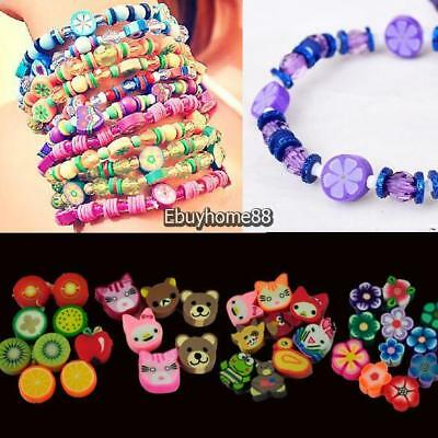 100 PCS Clay Beads DIY Slices Mixed Color Fimo Polymer Clay EHE8 02