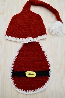 Christmas Girl Newborn Infant 0-3M Knit Crochet Costume Photo Prop Outfits