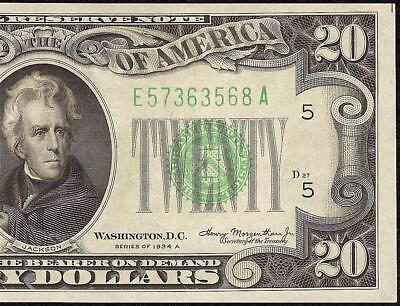 1934A $20 DOLLAR BILL GREEN SEAL FED NOTE OLD PAPER MONEY Fr 2055-E UNCIRCULATED