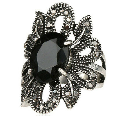 Ladies Retro Vintage Hollow Flower Ring Plated Alloy Resin Finger Jewelry Little