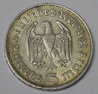 Nazi Germany 1935F silver 5 mark coin, VF.